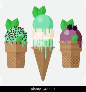 Mint ice cream cone. Mint ice cream scoop in cone with vanilla, chocolate and blackberry. Mint ice cream cones, - Stock Photo