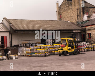 Beer kegs in the yard of Theakston Brewery Masham North Yorkshire Lower Wensleydale England UK - Stock Photo