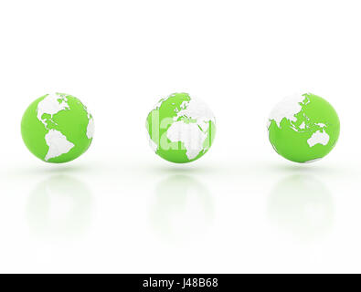 Globe with national borders, 3d render on white background - Stock Photo