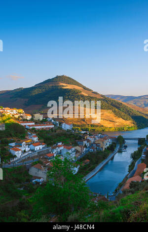 Portugal Douro Valley, aerial sunset view of Pinhao, the key port wine town situated in the Douro River Valley, - Stock Photo