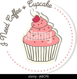 Muffin. Blueberry, chocolate and chocolate chip. Vector illustration in simple flat style. text I Need Coffee Cupcake - Stock Photo