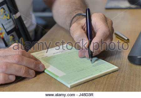 Embargoed to 0001 Thursday May 11 File photo dated 10/09/14 of a doctor writing a prescription, as sifting through - Stock Photo