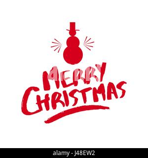 Merry Christmas Snowman Text Quote, Calligraphy Lettering Design For  Holiday Season. Creative Red Typography