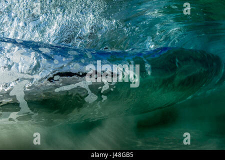 Underwater View Of A Wave Breaking Hawaii America Usa Stock Photo