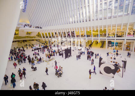 Futuristic Shopping Mall in New York - the new Westfield at World Trade Center- MANHATTAN / NEW YORK - APRIL 1, - Stock Photo