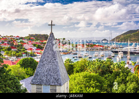 Saint Barthelemy Carribean view from behind Saint Barthelemy Anglican Church. - Stock Photo