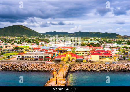 Basseterre, St. Kitts and Nevis town skyline at the port. - Stock Photo