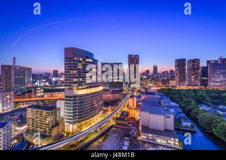 Tokyo, Japan cityscape in Shiodome.