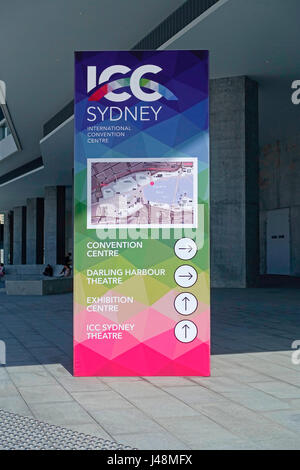 Directional map outside The ICC Convention Centre Sydney at The International Convention Centre Sydney (ICC Sydney), - Stock Photo