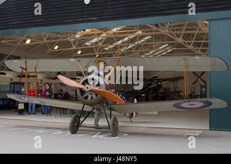 1918 Sopwith Camel outside its hanger at Old Warden Aerodrome - Stock Photo