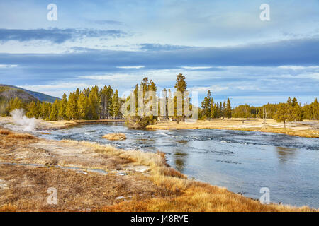 Autumn landscape in Yellowstone National Park, Wyoming, USA. - Stock Photo