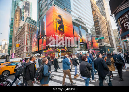 Advertising for the Warner Bros'  'Wonder Woman' film is seen in Times Square in New York on Tuesday, May 10, 2017. - Stock Photo