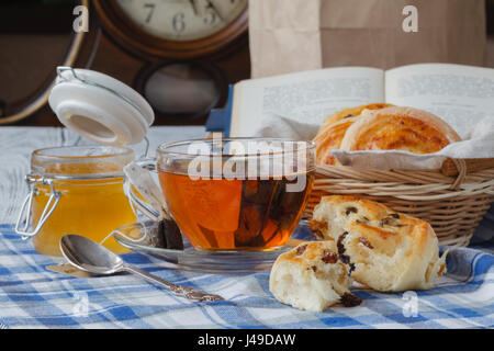 Breakfast with Buns with raisins - Stock Photo