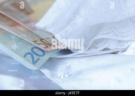 White wedding lace for a wedding dress or a bridal gown - Stock Photo