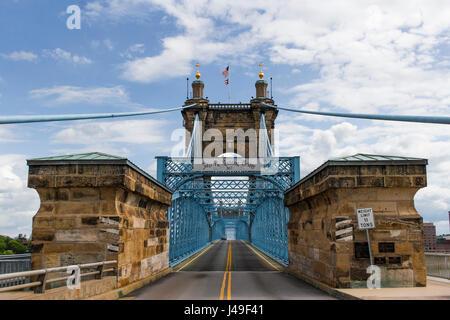 John A. Roebling Suspension Bridge located in Cincinnati, Ohio. - Stock Photo
