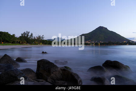 Picture of Tamarin public beach, Mauritius, just after sunset. - Stock Photo
