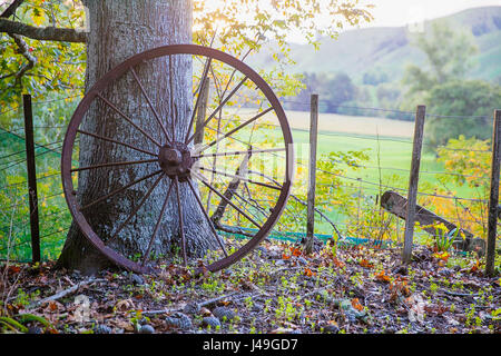 Old metal cartwheel - Stock Photo