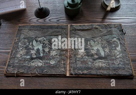 Handstitched art, at Glensheen Mansion in Duluth, Minnesota, USA. - Stock Photo