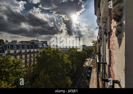 A view of Paris, from the 18th district - Stock Photo