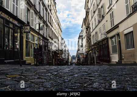 A view down into the rue des Martyrs - Paris 18eme, France - Stock Photo