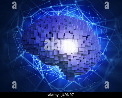 Artificial intelligence concept -3D illustration - Stock Photo