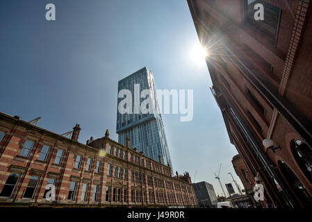 Beetham Tower from Deansgate, Manchester - Stock Photo