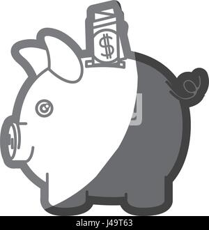 grayscale silhouette of moneybox in shape of pig with dollar bill - Stock Photo