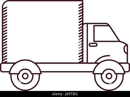monochrome silhouette of truck with wagon - Stock Photo