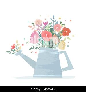 A bright composition of flowers in a garden watering can. Harvest Flower Mason Jar. Wedding vector illustration - Stock Photo