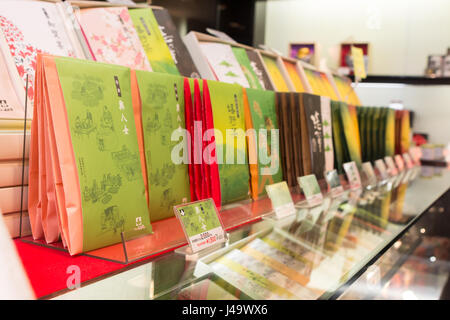 Nagasaki, Japan - March 26th, 2017: Variety of green tea inside a Tea Shop in Nagasaki. - Stock Photo