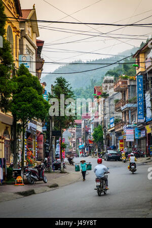 SAPA, VIETNAM - CIRCA SEPTEMBER 2014:  Typical street of Sapa Town in North Vietnam - Stock Photo