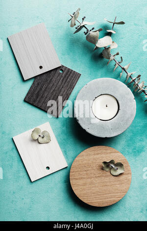 Flat lay interior decor objects for a color scheme mood board - Stock Photo