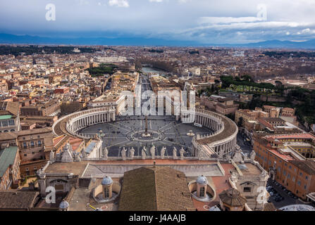 St. Peter's Square seen from the Dome of St. Peter's Basilica in Vatican City. - Stock Photo