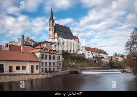St. Vitus Church in Cesky Krumlov, Czech Republic. - Stock Photo