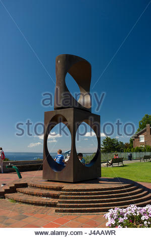 The sculpture 'Changing Form' by Doris Chase, Kerry Park Viewpoint, Queen Anne Hill, Seattle, King County, Washington, - Stock Photo