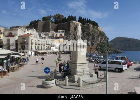 Statue of San Bartolomeo on a square Ugo S. Onofrio in Marina Corta, Lipari, Italy. - Stock Photo