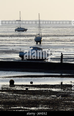 Foreshore at Southend on Sea, Essex, at low tide with boats sitting on the mud and Southend Pier in the background. - Stock Photo