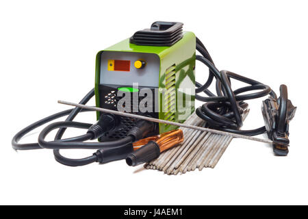 Welding machine and electrodes on a white background - Stock Photo