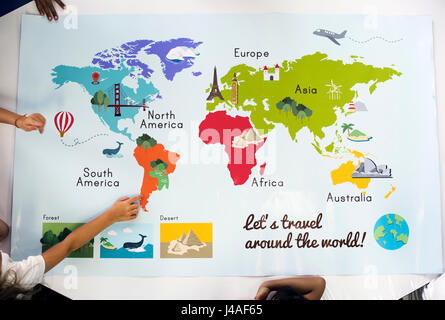 Kids Learning World Map With Continents Countries Ocean Geography - World map showing continents and countries