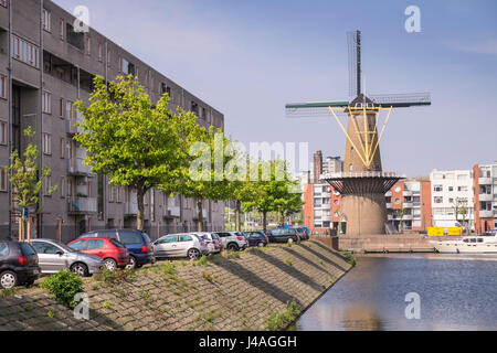 Windmill at Delfshaven, Rotterdam, The Netherlands. - Stock Photo