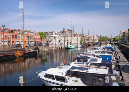 Boats moored in the historic area at Delfshaven, Rotterdam, The Netherlands - Stock Photo