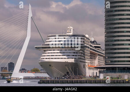 Modern large cruise ship at Wilhelmina Pier, with Erasmusbrug (Erasmus Bridge) in the background, Katendrecht, Rotterdam, - Stock Photo