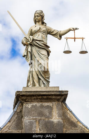 Statue of Lady Justice on gate of justice/Cork Hill Gate at Dublin Castle, Dublin, Ireland. statue sculptured by - Stock Photo