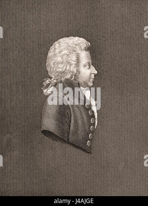 Wolfgang Amadeus Mozart, 1756 - 1791. Austrian composer and musician. - Stock Photo