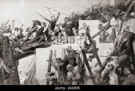 Godfrey de Bouillon at the Siege of Jerusalem in 1099 during the First Crusade.  Godfrey of Bouillon, 1060 – 1100. - Stock Photo