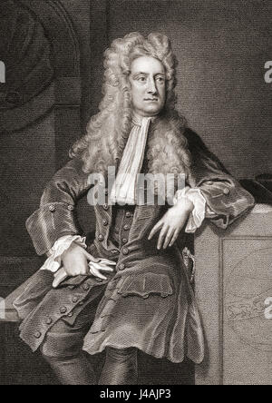 Sir Isaac Newton, 1642 - 1727.  English physicist and mathematical scientist. - Stock Photo