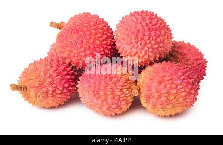 Sweet lychees fruits isolated on white background - Stock Photo