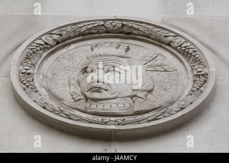 Depiction of a First Nations chief on the wall of the Fairmont Vancouver Hotel in Vancouver, Canada. - Stock Photo