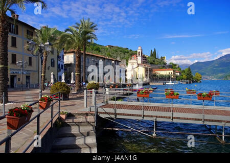 Riva di Solto Iseo lake, Lombardy in Italy - Stock Photo