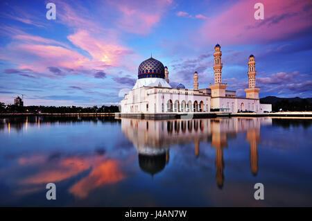 Sunset scenery of Kota Kinabalu city Mosque, Sabah Borneo, Malaysia. - Stock Photo